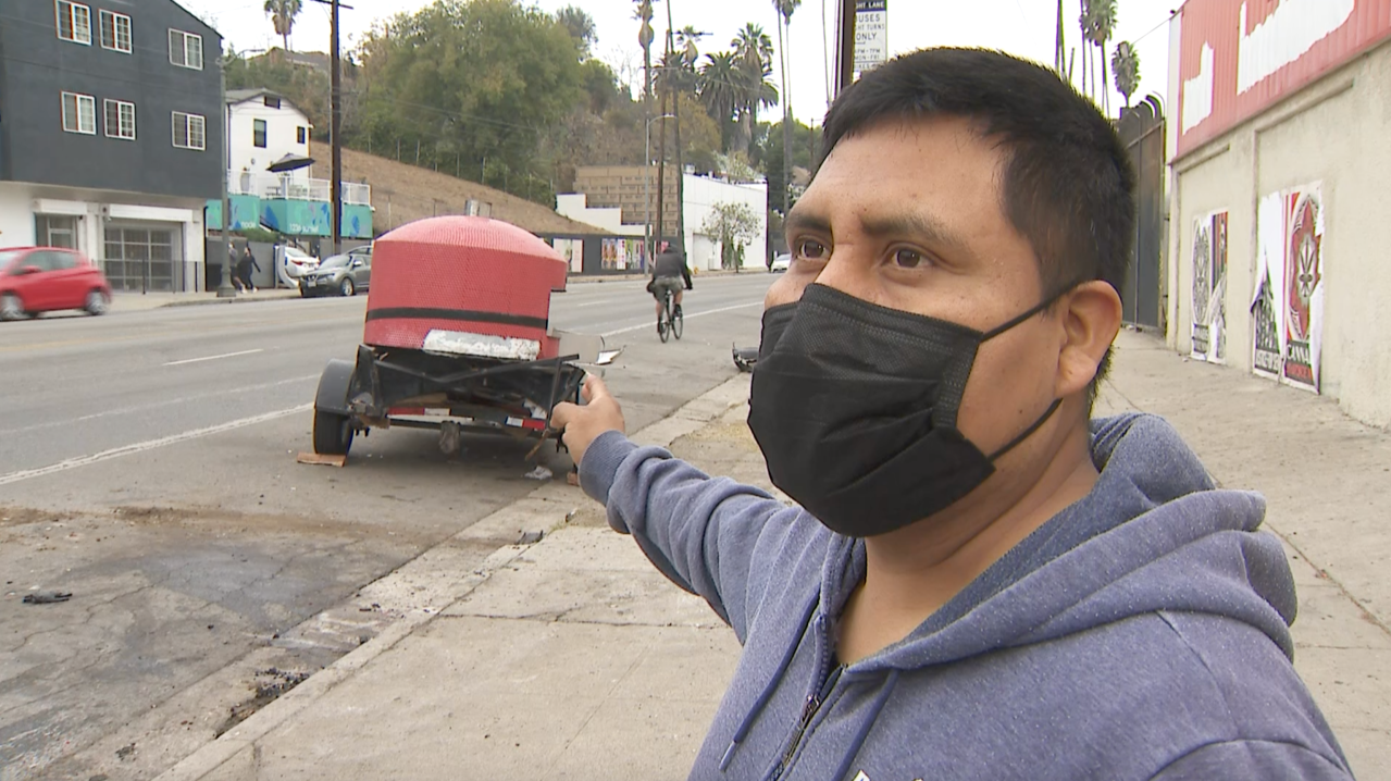 'I lost everything': Echo Park street vendor asks for help after car slammed into his pizza stand, injured stepson