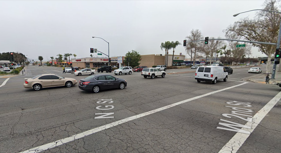 The intersection of 2nd and G streets in San Bernardino is shown in a Street View image from Google Maps.