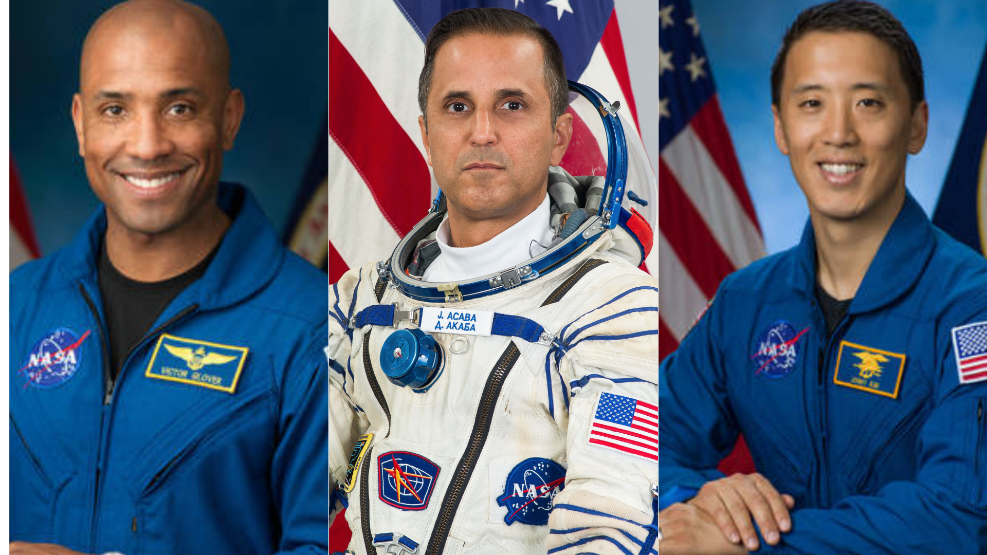 Victor Glover, Joseph Acaba and Jonny Kim appear in portraits released by NASA.