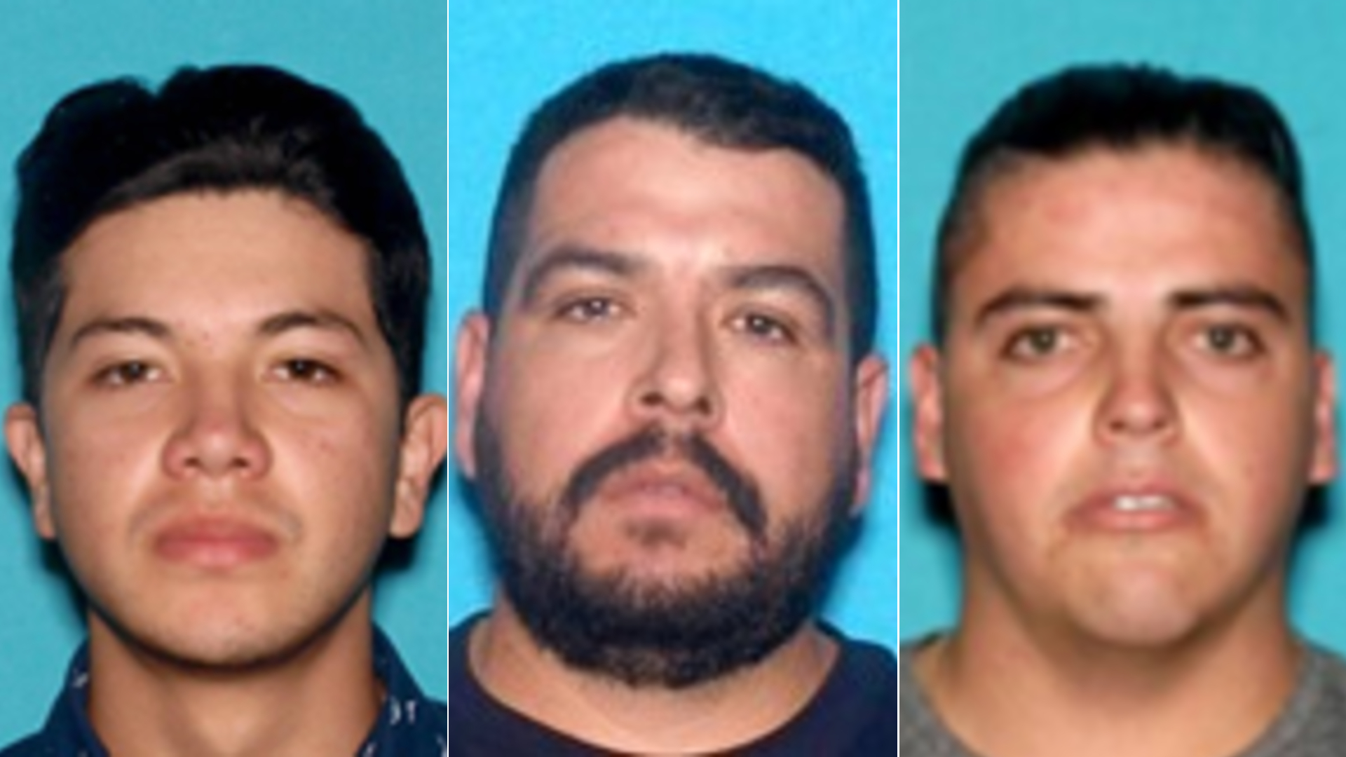 From left, Juan Jose Acosta-Soto, Edgar Nava-Ayala and Daniel Ocampo Nava are seen in undated photos released Dec. 17, 2020, by the Anaheim Police Department.