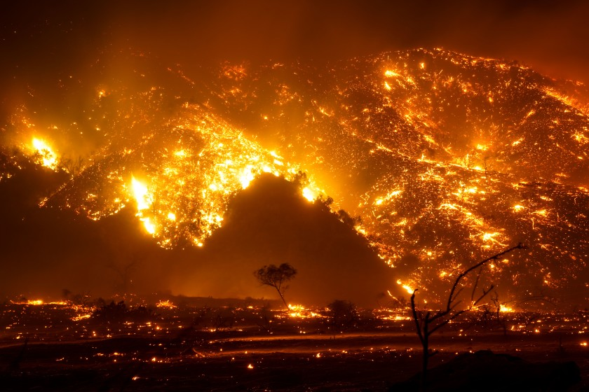The Bond fire has prompted evacuation warnings in Orange County's mountain communities.(Kent Nishimura / Los Angeles Times)