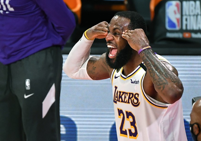 LeBron James celebrates the Lakers' 2020 NBA championship in Orlando, Fla.(Wally Skalij / Los Angeles Times)