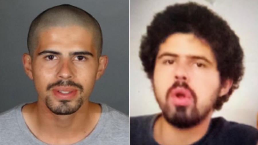 David Cordoba is seen in photos released Dec. 23, 2020, by the Los Angeles Police Department. The photo at left is from July 2, 2017, while the photo at right is more recent.