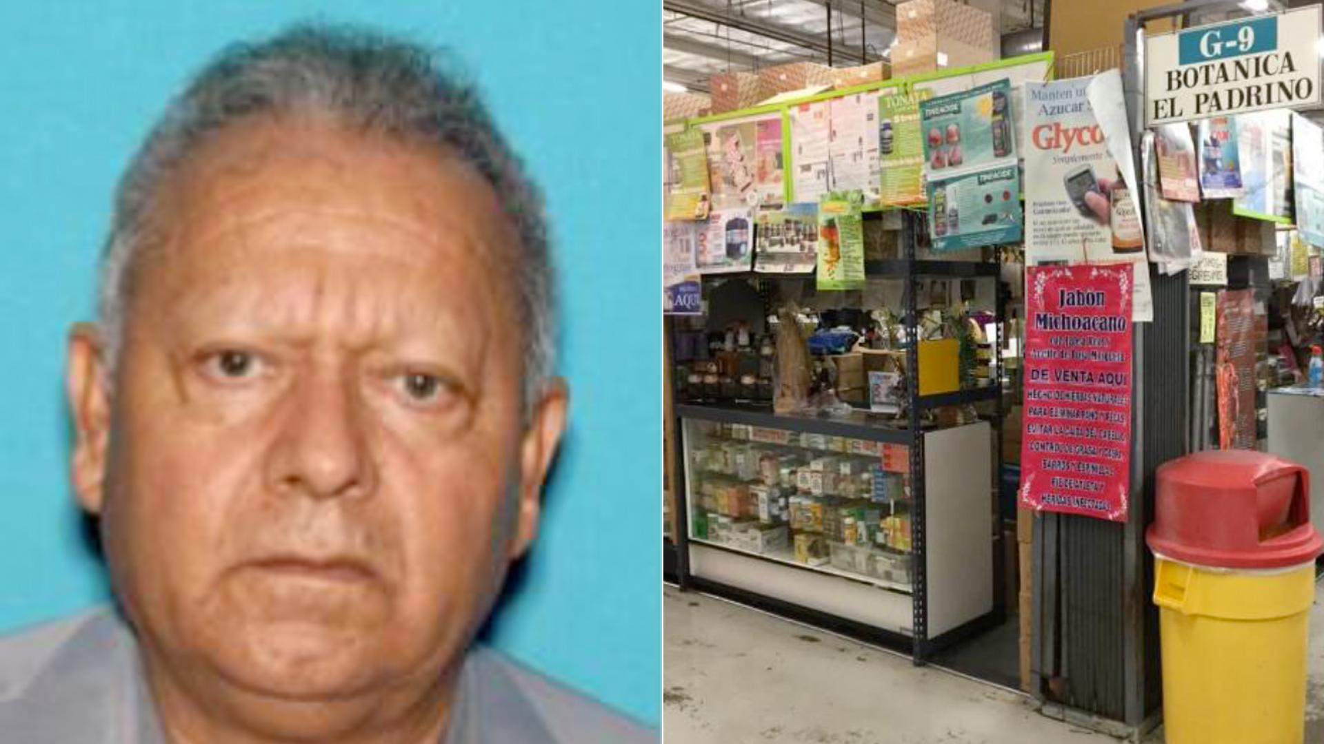 Leopoldo Garcia在2020年12月22日由阿纳海姆警察局发布的照片中显示。右边是他在阿纳海姆市场的店铺Botanica El Padrino的照片。(photo:KTLA)