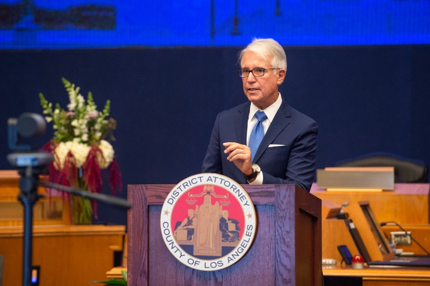 Los Angeles County District Attorney George Gascon delivers remarks after he took the oath of office Dec. 7, 2020. (Bryan Chan/Los Angeles County)