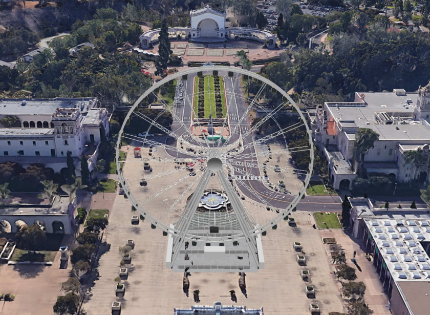 A conceptual rendering shows the proposed observation wheel in Balboa Park's central Plaza de Panama.(City of San Diego via L.A. Times)
