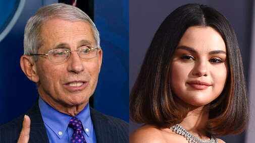 "This combination photo shows Dr. Anthony Fauci and actress-singer Selena Gomez, who were among those named ""2020 People of the Year"" by People Magazine. (AP Photo)"