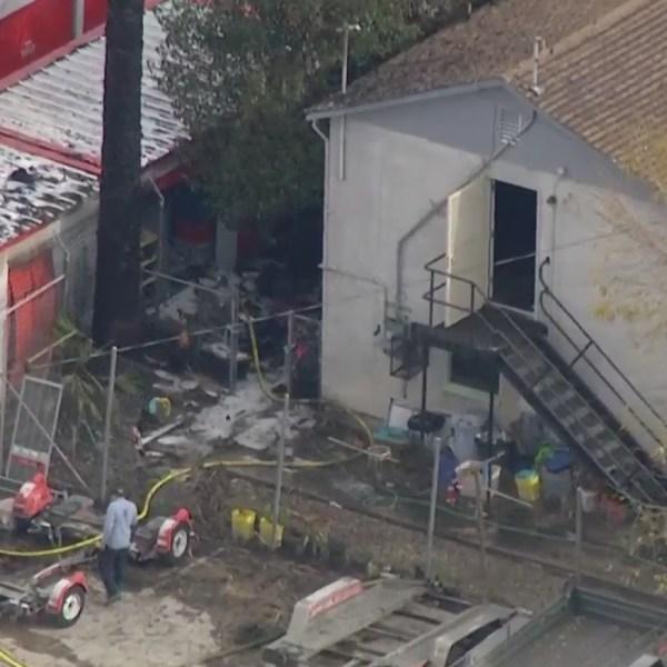 Firefighters knocked down a blaze in San Bernardino on Dec, 9, 2020. (KTLA)