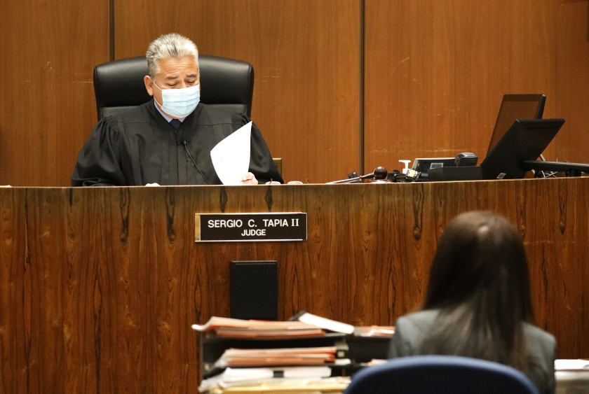 Los Angeles Superior Court Judge Sergio C. Tapia II dismissed the cases and vacated the convictions of several defendants on Dec. 4, 2020. (Al Seib / Los Angeles Times)