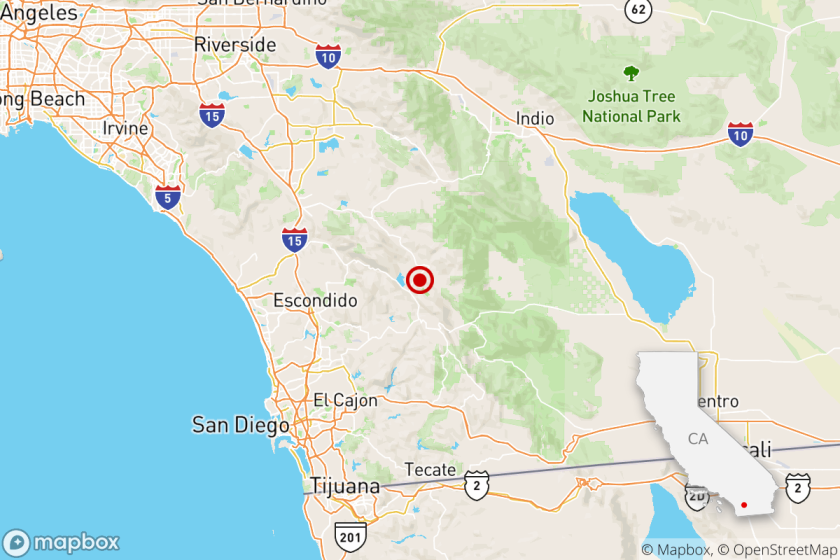 A map from the Los Angeles Times shows where a magnitude 3.6 quake was recorded on Dec. 6, 2020.
