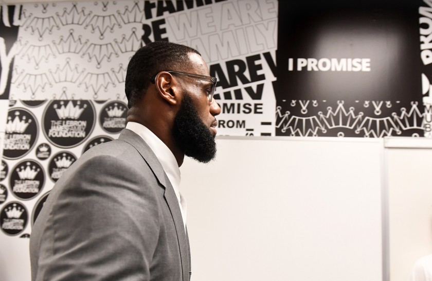 LeBron James prepares for a news conference at the I Promise School in Akron, Ohio, in 2018. (Wally Skalij / Los Angeles Times)