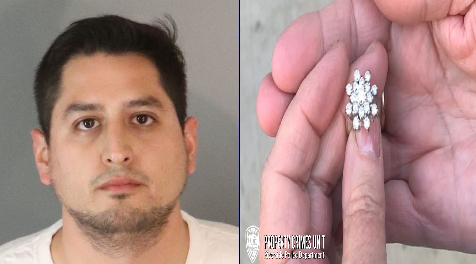 Mark Anthony Zuniga, 27, appears in a booking photo. On the right is a ring Zuniga is suspected of stealing from a deceased woman's body. These photos were released by the Riverside Police Department on Dec. 3, 2020.