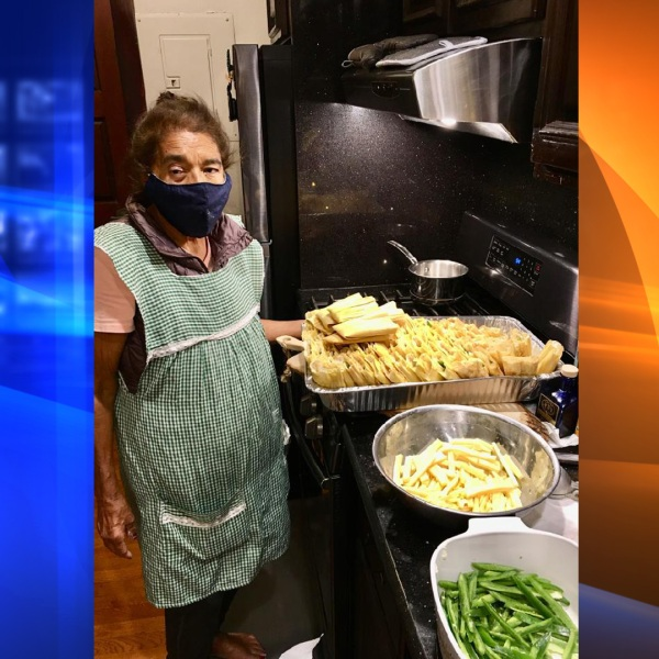 Margarita Montanez making tamales for the doctors and nurses who cared for her at Cedars-Sinai Medical Center. (Cindy Montanez)