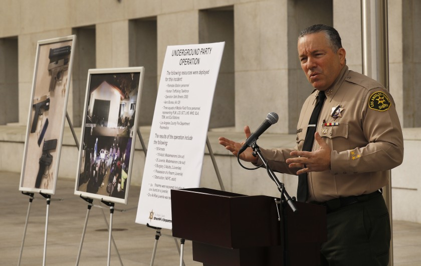 Los Angeles County Sheriff Alex Villanueva addresses the media at the Hall of Justice in downtown Los Angeles on Dec. 8, 2020 about the arrest of more than 150 people at a super-spreader event in Palmdale. (Al Seib / Los Angeles Times)