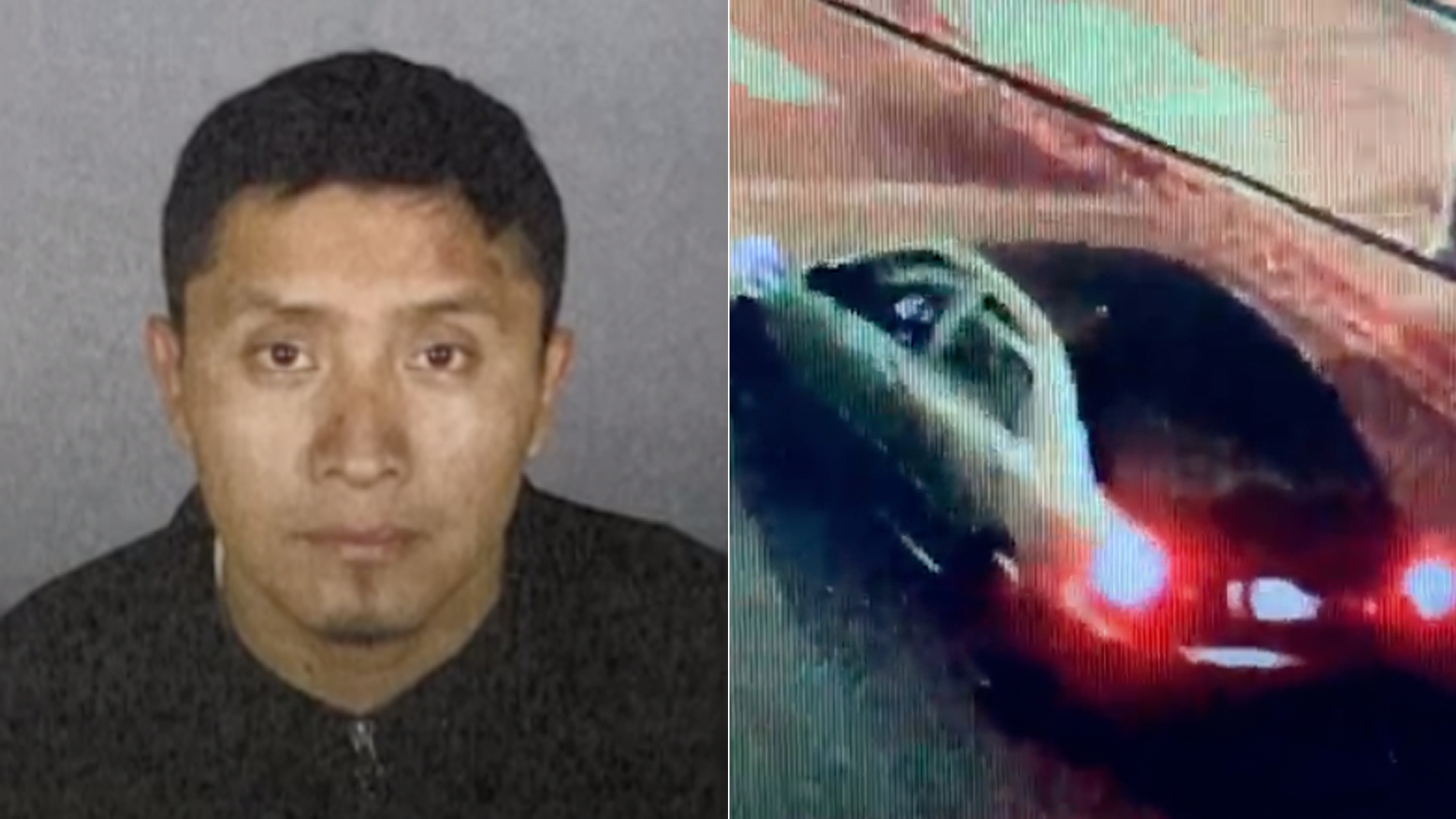 Ronald Waldamar Jo-Jlux is shown in a photo released by the Los Angeles Police Department on Dec. 3, 2020. At right is a photo of the suspect vehicle involved in the Westlake hit-and-run crash.