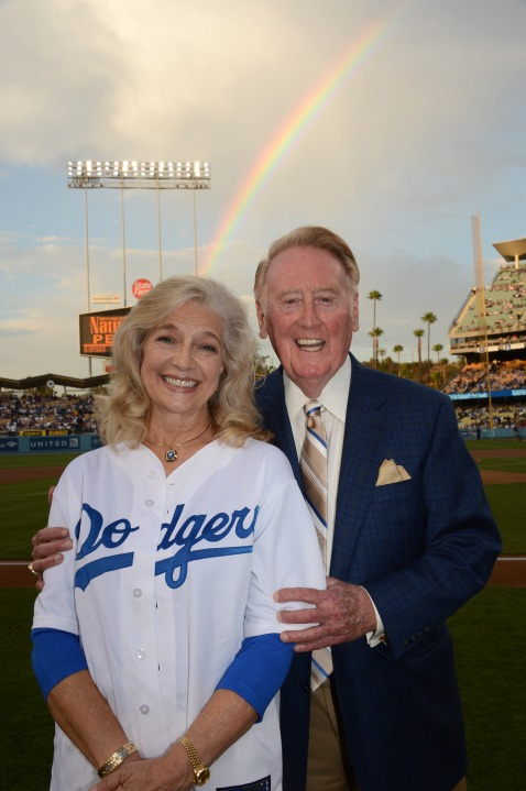 Sandra and Vin Scully are pictured Aug. 30, 2012, at Dodger Stadium in a photo supplied by the family on Jan. 4, 2020, when her death was announced. (Jon SooHoo/ Los Angeles Dodgers)