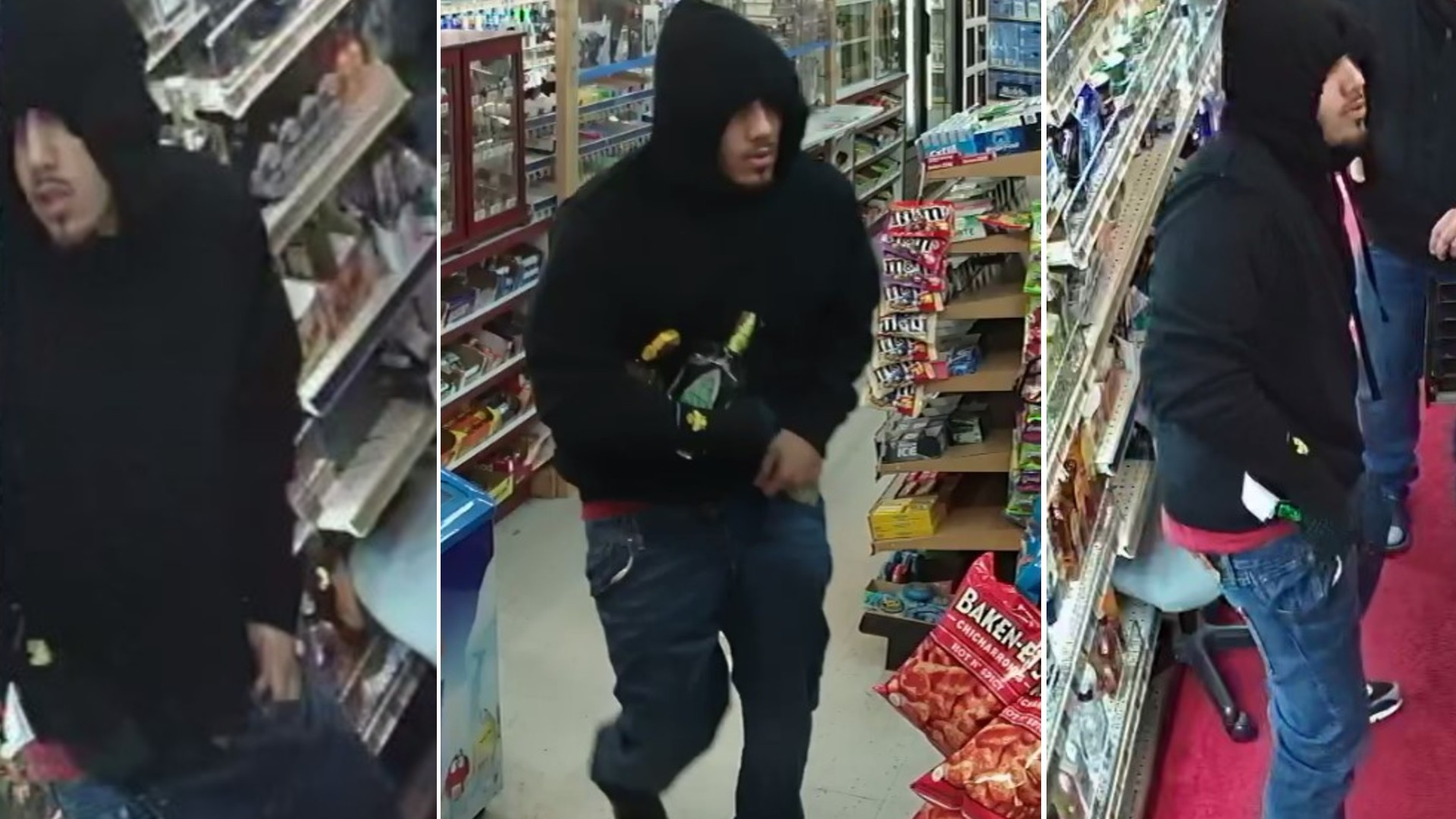 Authorities are seeking the public's help to identify a man caught on security camera footage robbing a liquor store in Oxnard on Jan. 11, 2021. (Ventura County Sheriff's Office)