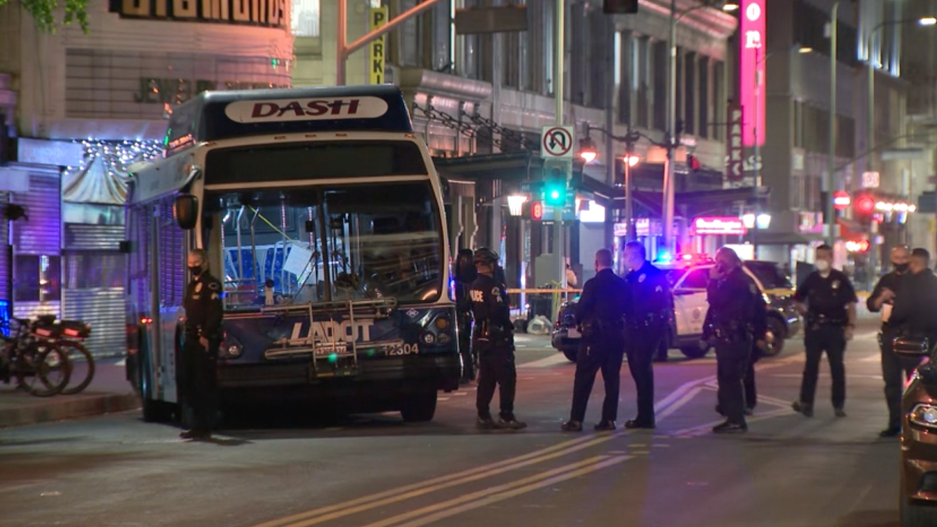 Police were investigating a shooting in downtown L.A. on Jan. 21, 2021. (KTLA)