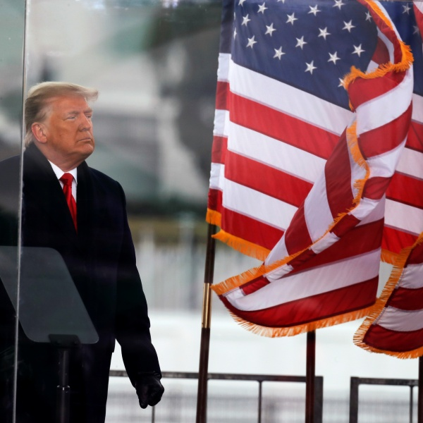 U.S. President Donald Trump looks on at the end of his speech during a rally to contest the certification of the 2020 U.S. presidential election results by the U.S. Congress, in Washington on Jan. 6, 2021. (REUTERS/Jim Bourg)