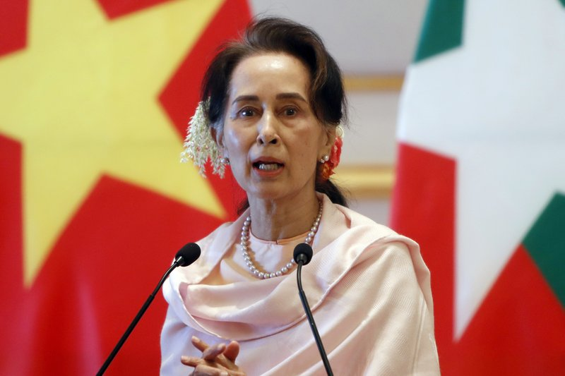 In this Dec. 17, 2019, file photo, Myanmar's leader Aung San Suu Kyi speaks during a joint press conference with Vietnam's Prime Minister Nguyen Xuan Phuc after their meeting at the Presidential Palace in Naypyitaw, Myanmar. (AP Photo/Aung Shine Oo)