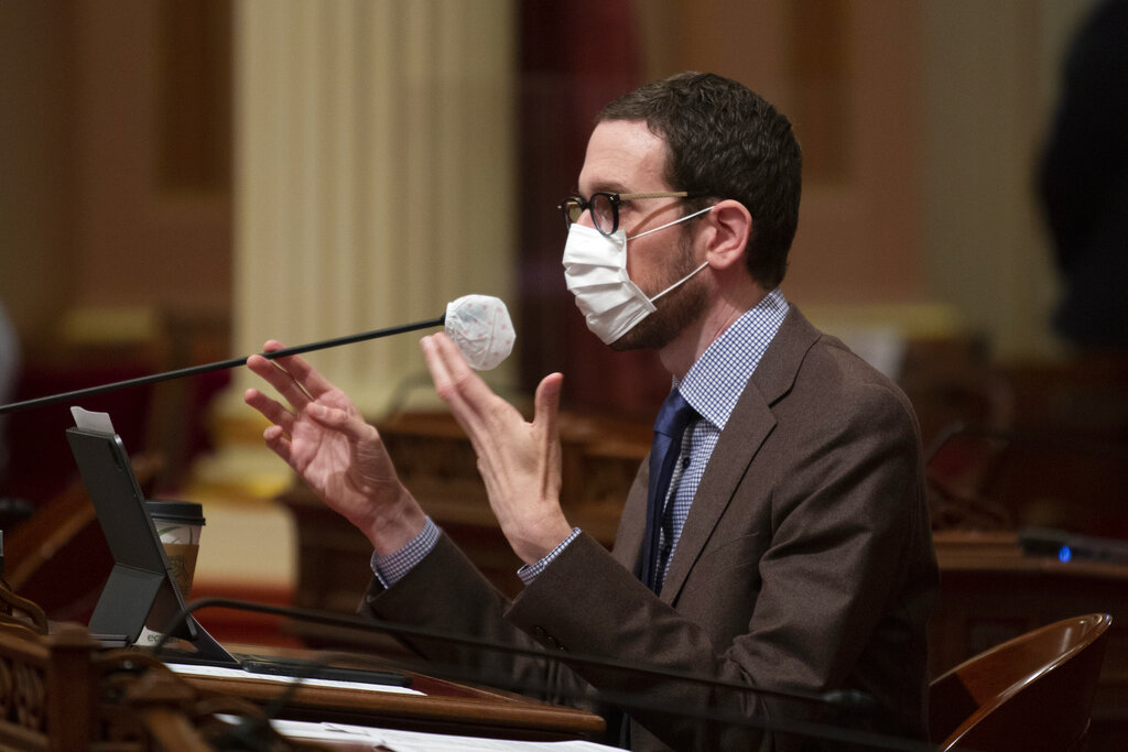 State Sen. Scott Wiener, D-San Francisco, is seen during a Senate oversight hearing in Sacramento on July 1, 2020. (AP Photo/Rich Pedroncelli)