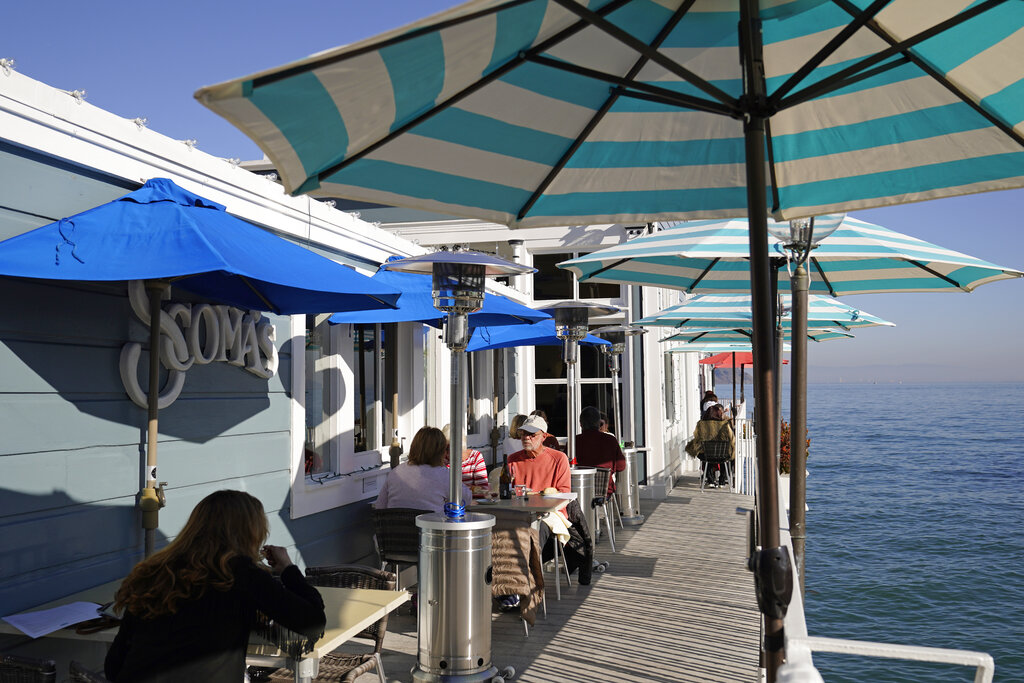 People dine outdoors at Scoma's restaurant Friday, Dec. 4, 2020, in Sausalito, Calif. (AP Photo/Eric Risberg)