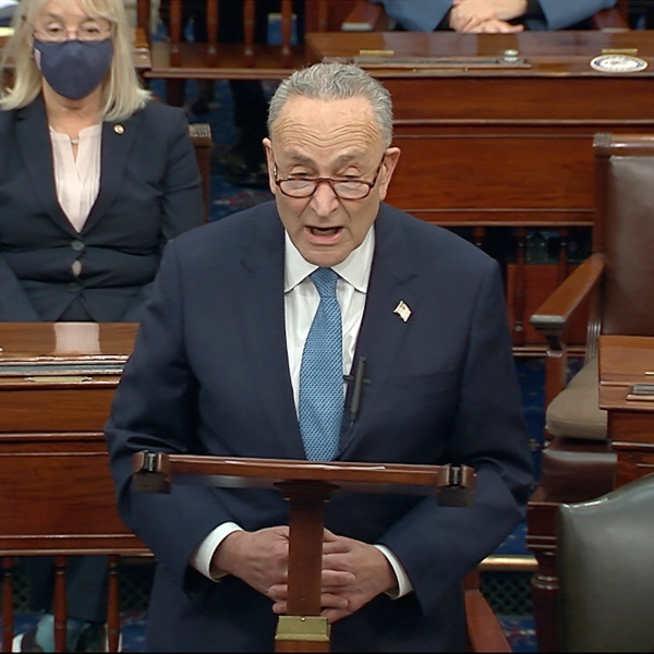 In this image from video, Senate Minority Leader Chuck Schumer of N.Y., speaks as the Senate reconvenes after protesters stormed into the U.S. Capitol on Wednesday, Jan. 6, 2021. (Senate Television via AP)