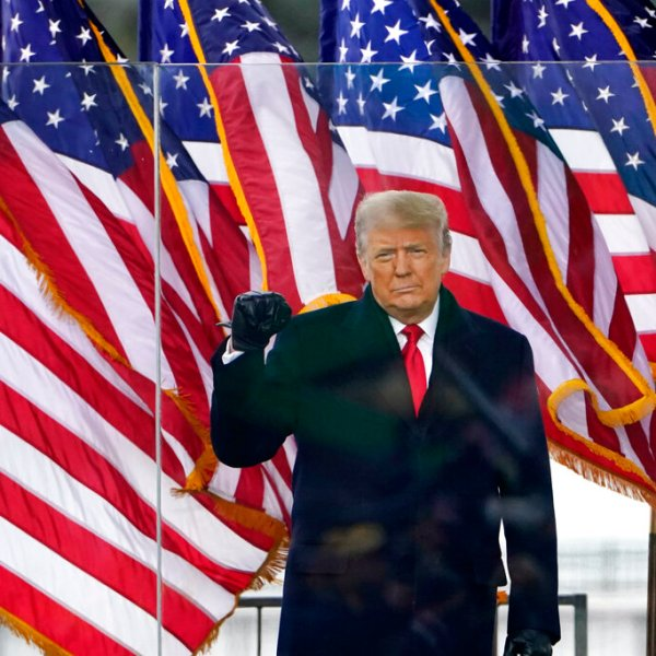 President Donald Trump arrives to speak at a rally on Jan. 6, 2021, in Washington. (AP Photo/Jacquelyn Martin)