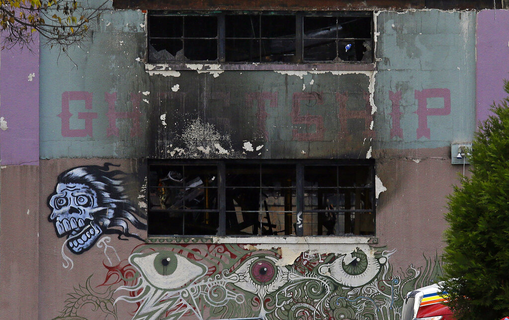 In this Dec. 7, 2016, file photo is the front of The Ghost Ship warehouse damaged from a deadly fire in Oakland, Calif. (AP Photo/Eric Risberg, File)