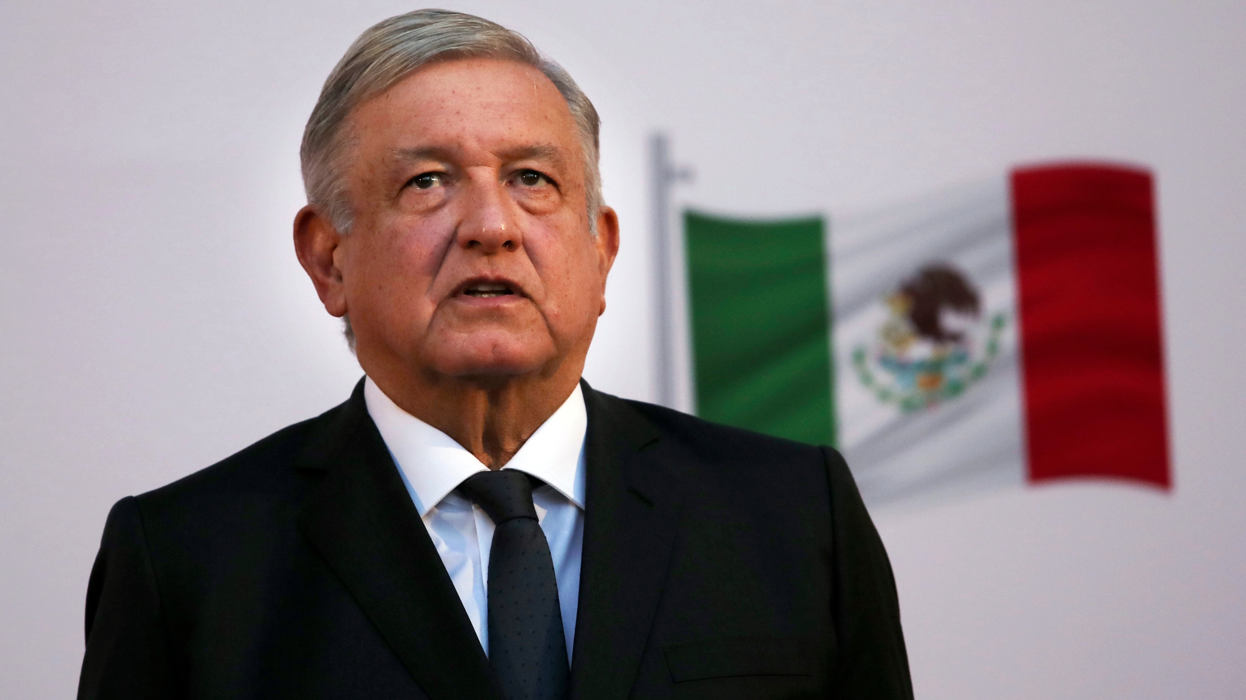 In this Dec. 1, 2020 file photo, Mexican President Andrés Manuel López Obrador attends the commemoration of his second anniversary in office at the National Palace in Mexico City. (AP Photo/Marco Ugarte)