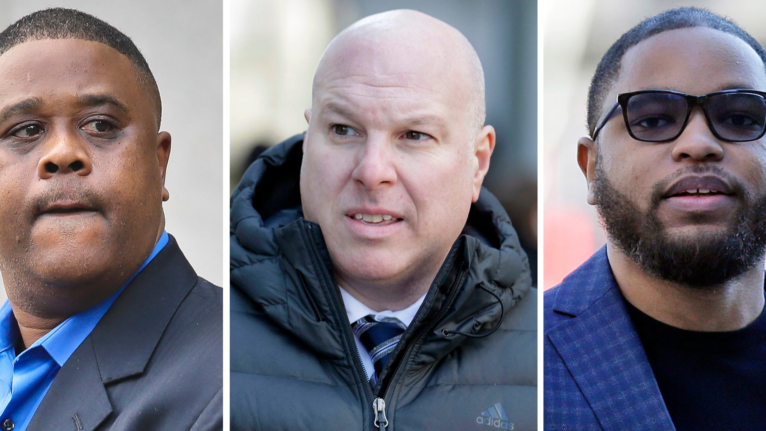 This file combo of images shows, from left, amateur basketball league director Merl Code, former Adidas executive James Gatto, and business manager Christian Dawkins. (AP Photo/File)