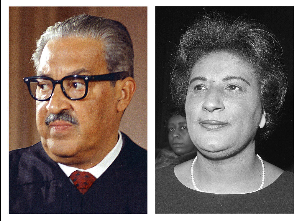 This combo of file photos from Washington show Supreme Court Associate Justice Thurgood Marshall on Oct. 24, 1967; and Constance Baker Motley, nominated to be judge of the southern district of New York, at her confirmation hearing, on April 4, 1966. The NAACP's Legal Defense Fund launched a $40 million scholarship program on Monday, Jan. 18, 2021, to create a new generation of civil rights lawyers. The Marshall-Motley Scholars Program, named for the legal defense fund's founder and Supreme Court Justice Thurgood Marshall, and his staff attorney Constance Baker Motley, who later became the first Black female federal judge. (AP Photo/Charles Tasnadi, left, and Henry Griffin)