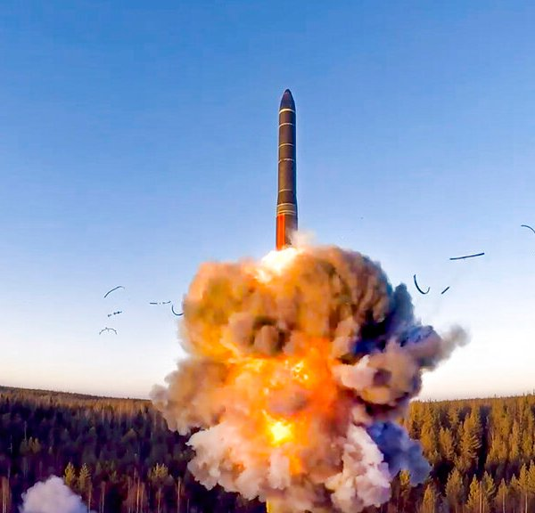 In this file photo taken from a video distributed by Russian Defense Ministry Press Service, on Wednesday, Dec. 9, 2020, a rocket launches from missile system as part of the drills, a ground-based intercontinental ballistic missile was launched from the Plesetsk facility in northwestern Russia. (Russian Defense Ministry Press Service via AP, File)