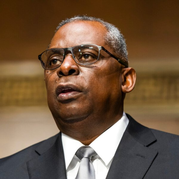 Lloyd Austin, a recently retired Army general, speaks during his conformation hearing before the Senate Armed Services Committee on Capitol Hill on Jan. 19, 2021, in Washington. (Jim Lo Scalzo/Pool via AP)