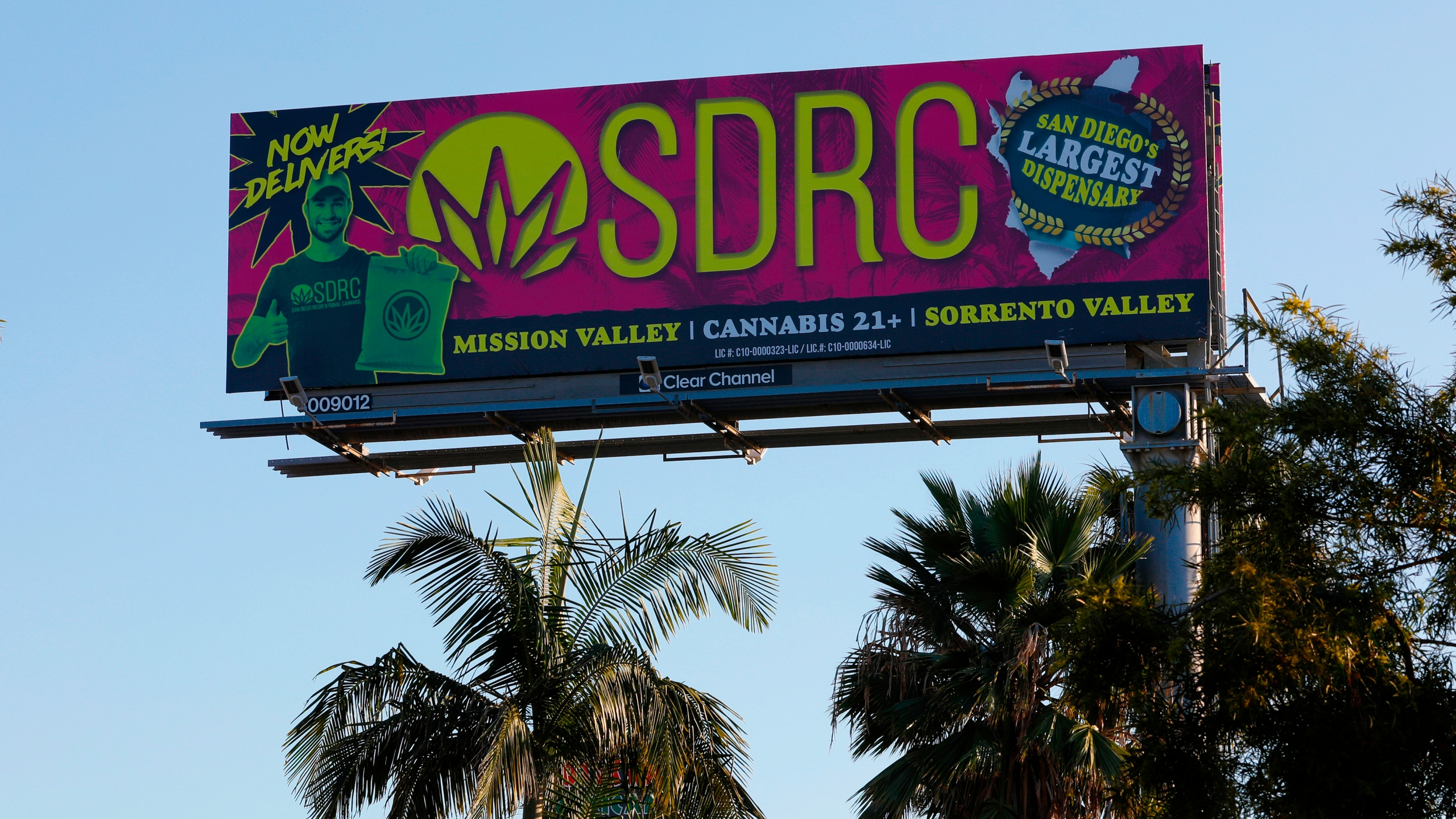 In this Jan. 13, 2020, file photo, a billboard in San Diego advertises a cannabis dispensary. (Nelvin C. Cepeda/The San Diego Union-Tribune via AP)