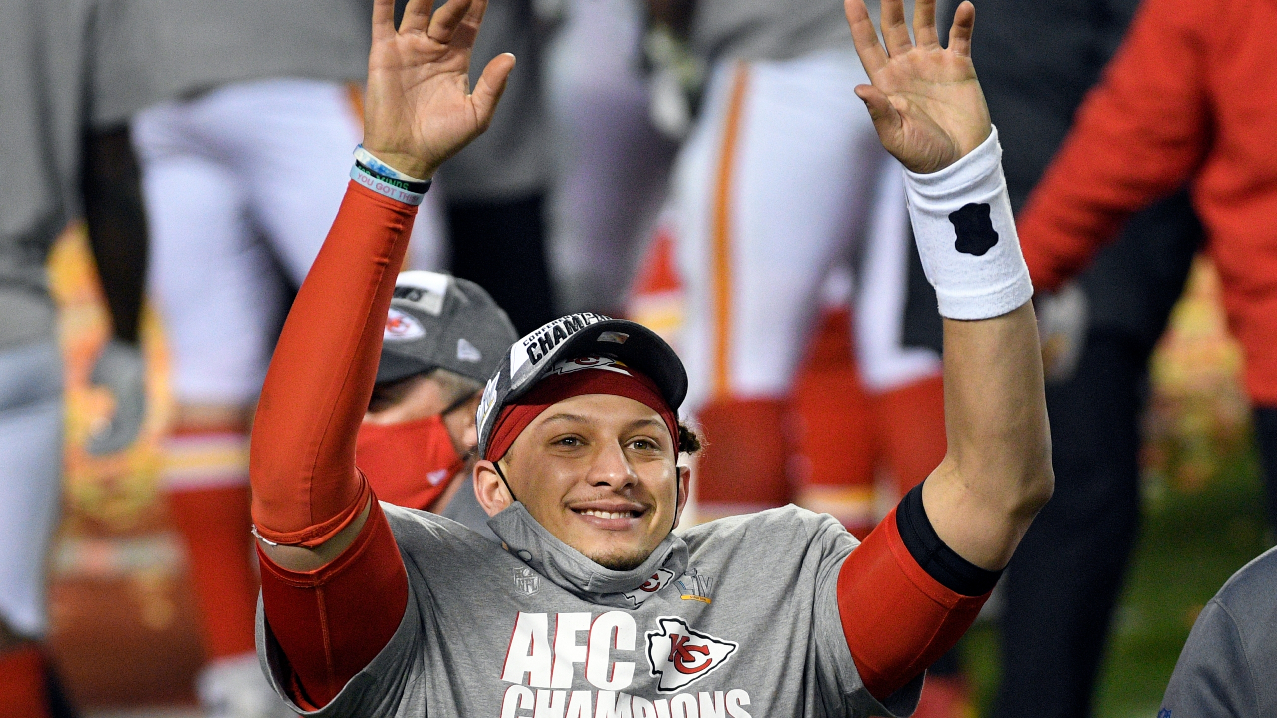 Kansas City Chiefs quarterback Patrick Mahomes celebrates after the AFC championship NFL football game against the Buffalo Bills, Sunday, Jan. 24, 2021, in Kansas City, Mo. The Chiefs won 38-24. (AP Photo/Reed Hoffmann)