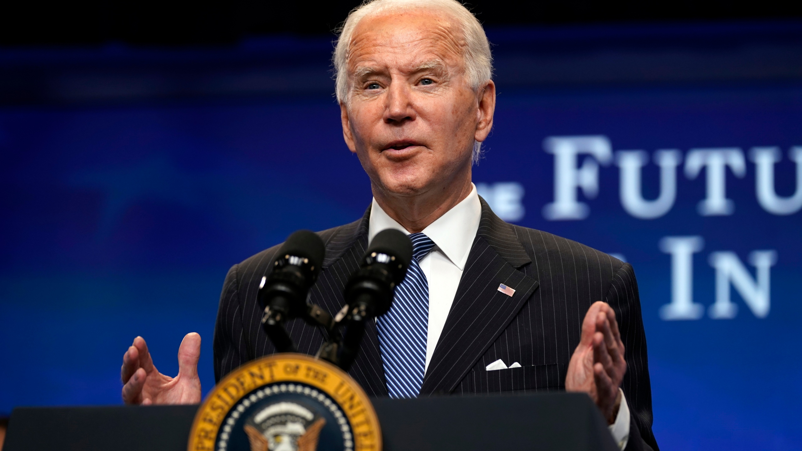 President Joe Biden speaks during an event on American manufacturing, in the South Court Auditorium on the White House complex, on Jan. 25, 2021. (Evan Vucci / Associated Press)