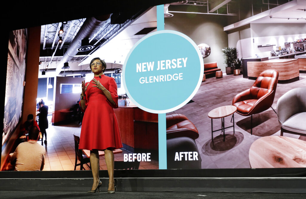 Starbucks COO Roz Brewer talks about the proposed redesign of a Starbucks store in New Jersey as she speaks Wednesday, March 20, 2019, during the company's annual shareholders meeting in Seattle. Walgreens has tapped Roz Brewer as its new CEO, which will make her the only Black woman currently leading a Fortune 500 company. Brewer will take over as Walgreens CEO on March 15, 2021 after a little more than three years as Starbucks' chief operating officer. (AP Photo/Ted S. Warren, file)