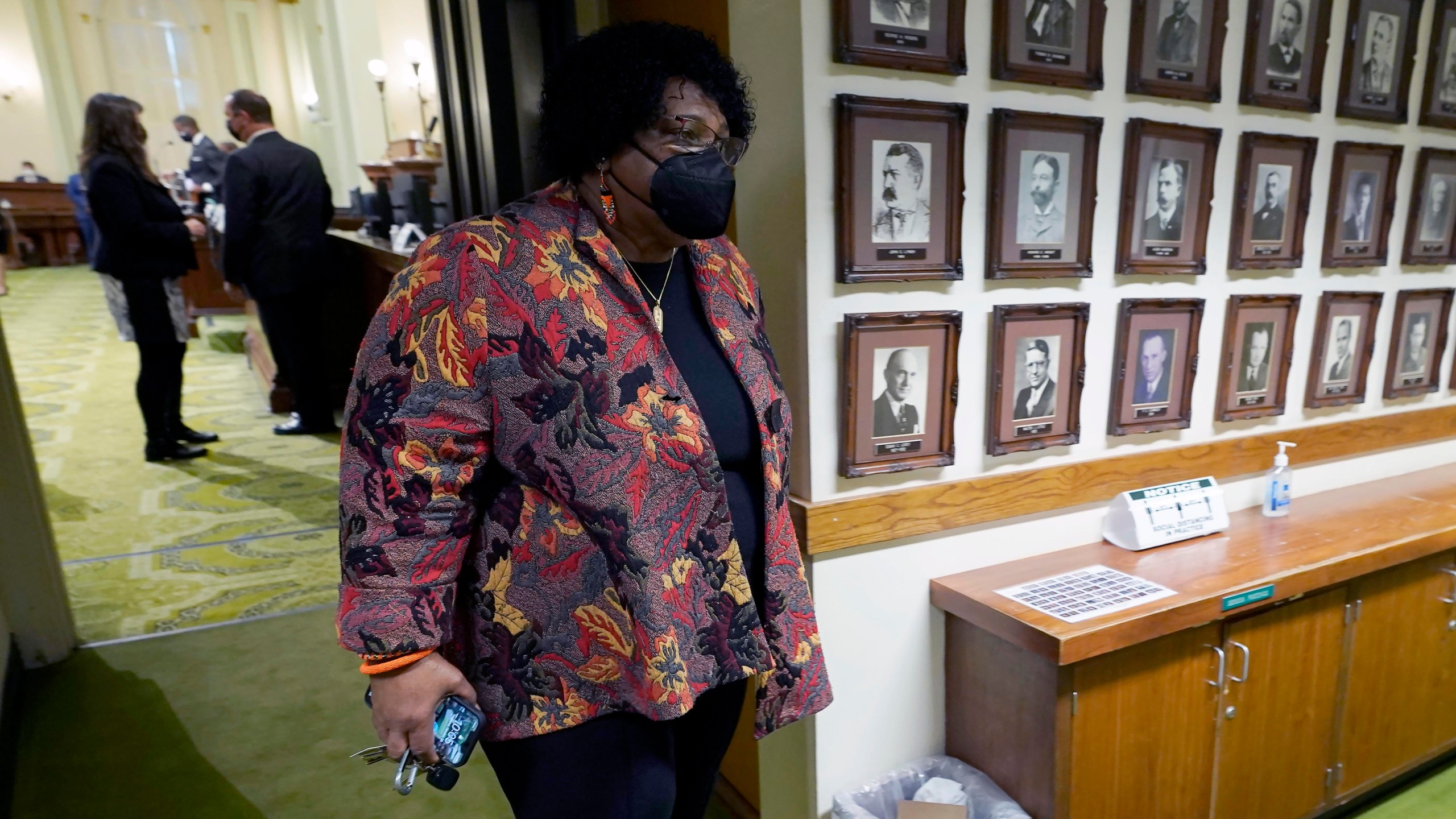 Democratic Assemblywoman Shirley Weber leaves the Assembly Chambers at the Capitol in Sacramento on Jan. 28, 2021. (Rich Pedroncelli / Associated Press)