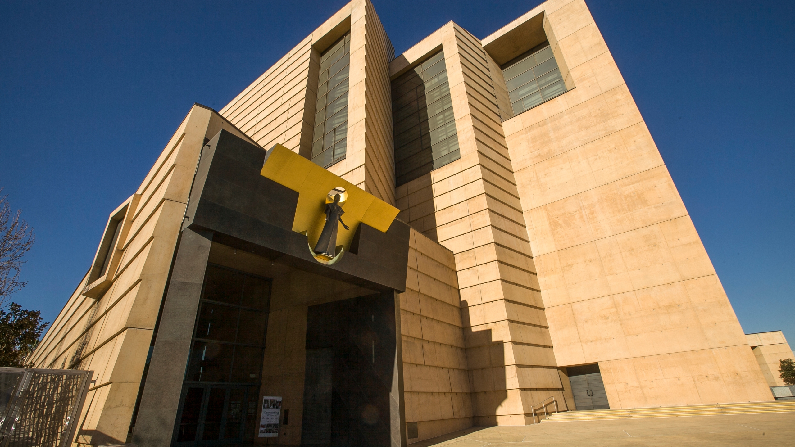 The entrance to the Cathedral of Our Lady of the Angels, the headquarters for the Roman Catholic Archdiocese of Los Angeles, is seen in a file photo from Jan. 21, 2013. (Damian Dovarganes / Associated Press)