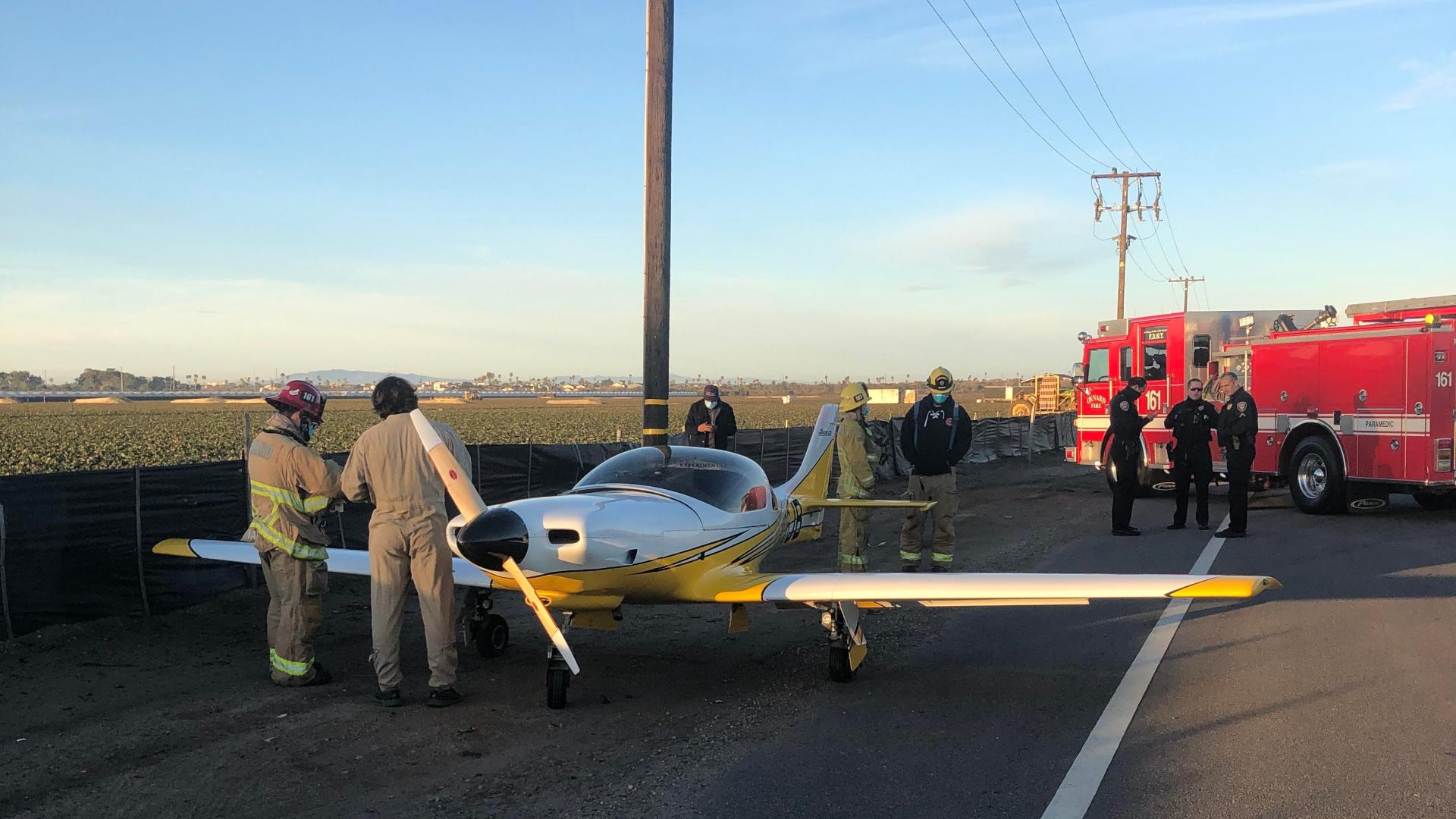 A single-engine Lancair that made an emergency landing near Oxnard Airport on Jan. 10, 2021. (Oxnard Police Department)