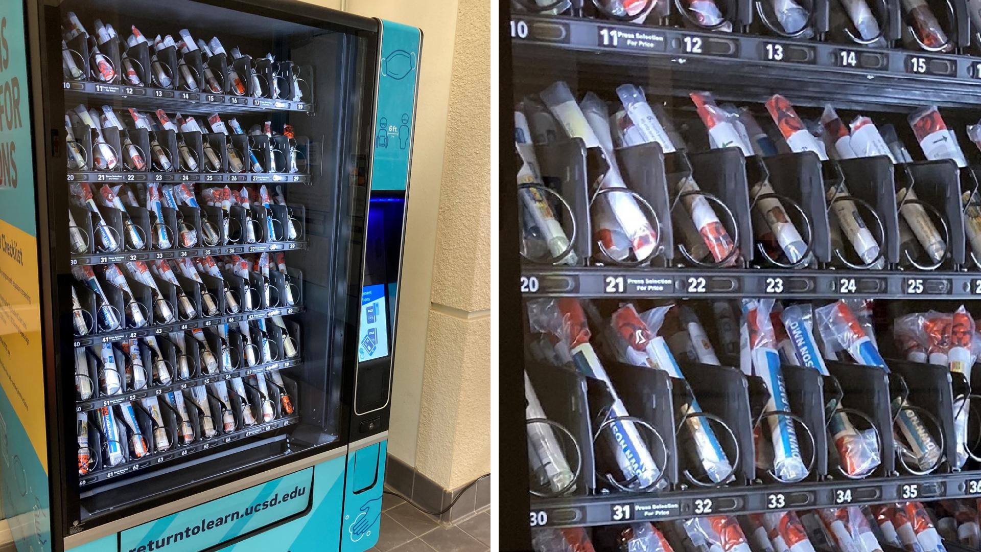 UC San Diego shared this image of a vending machine that dispenses coronavirus test kits.