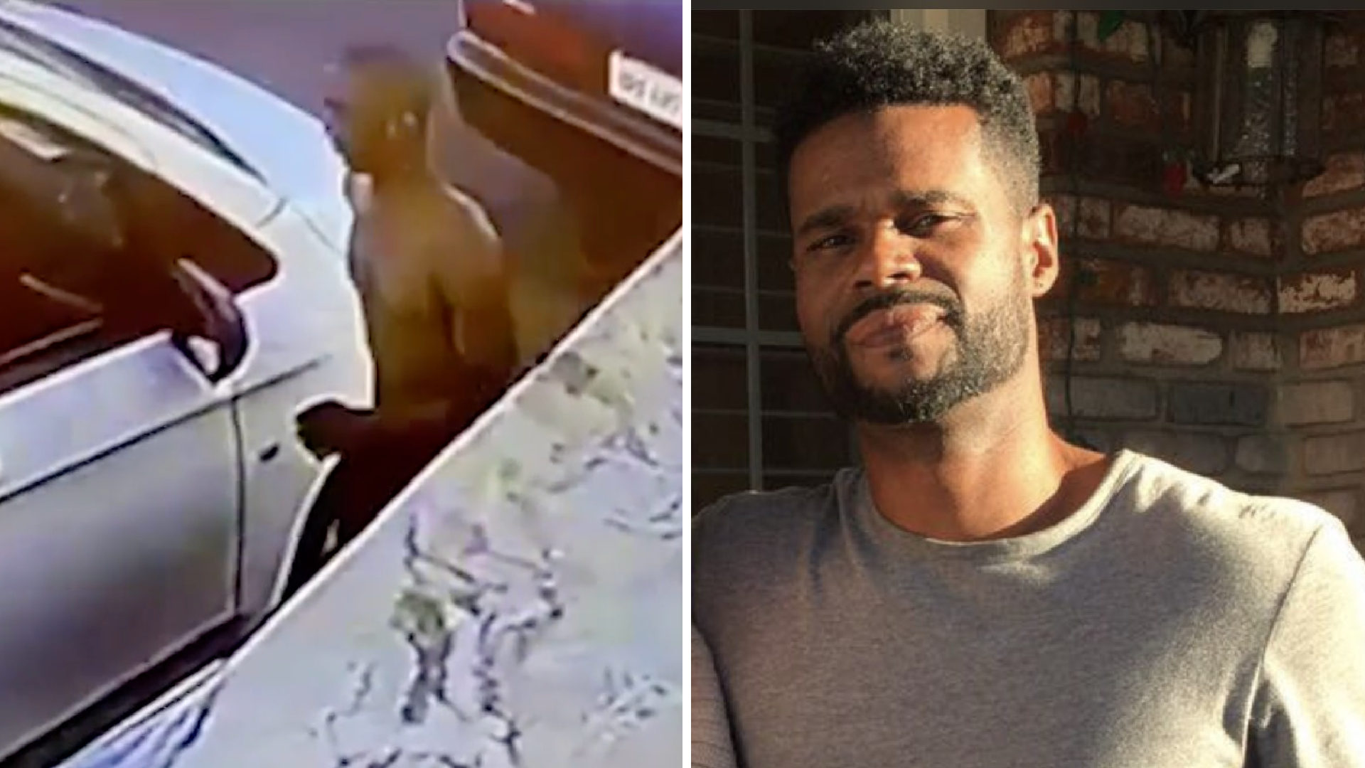 On the right, Branden Finley, 46, is seen in an undated photo provided by friends. On the left, a surveillance video from LAPD shows the person suspected of killing him in a hit-and-run crash.