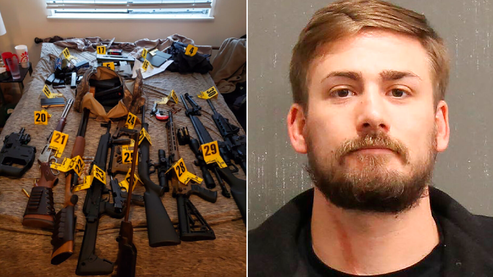 This photo provided by Metro Government of Nashville and Davidson County shows Eric Gavelek Munchel. Munchel. On the left, an evidence photo showing assault rifles that were found during a search of Eric Munchel's home. (U.S. Attorney for the Middle District of Tennessee via AP)