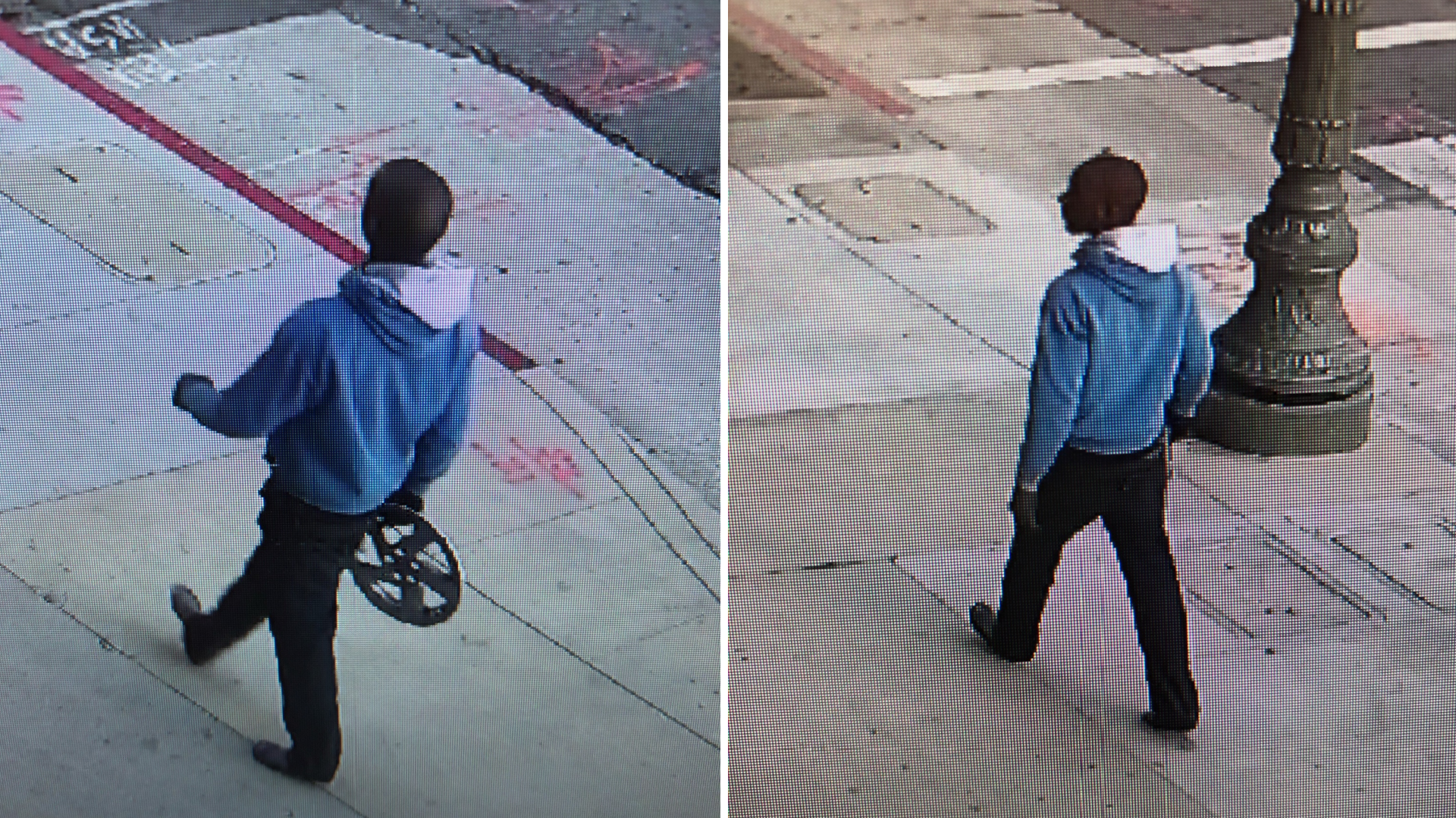 LAPD released these surveillance images of a suspect in a fatal hit-and-run crash in downtown Los Angeles Jan. 16, 2021.