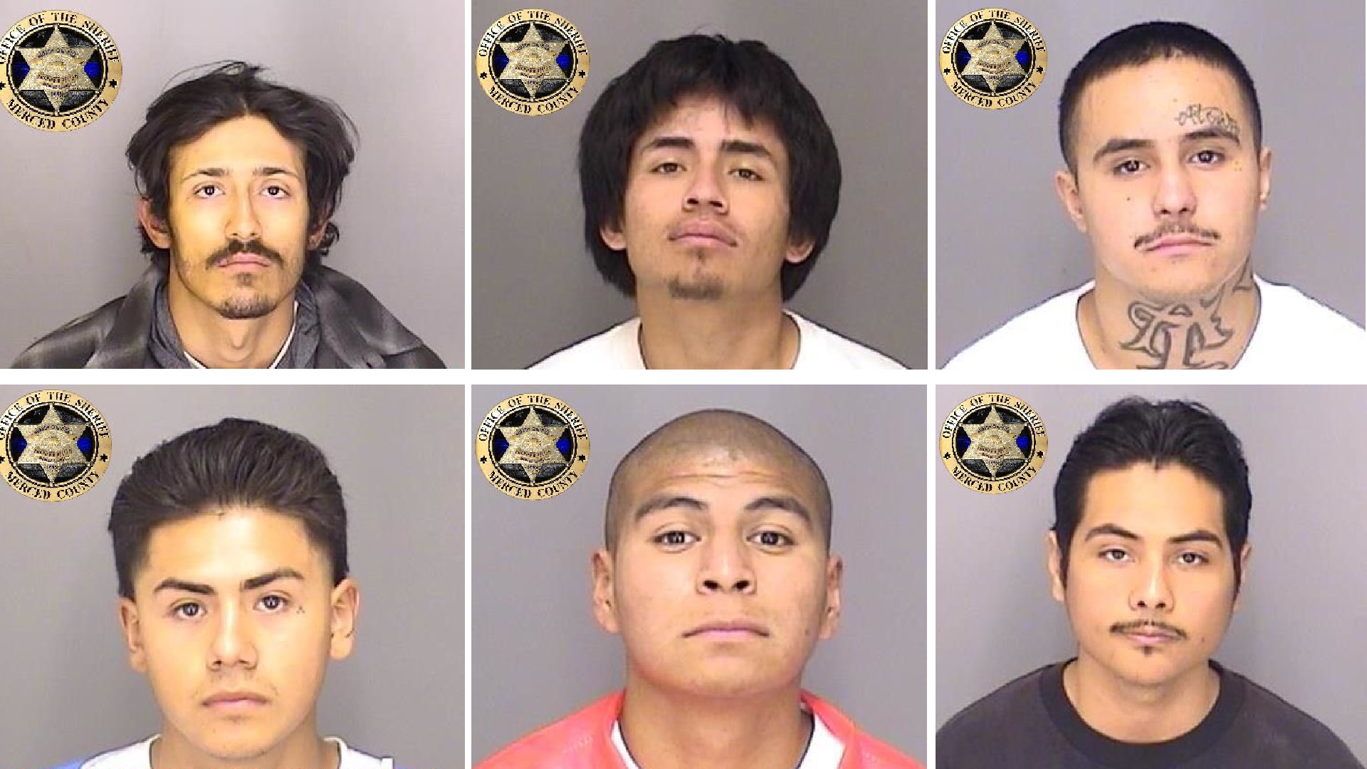 The Merced County Sheriff's Office shared these photos of six inmates they say escaped from the county jail using a homemade rope on Jan. 10, 2021.