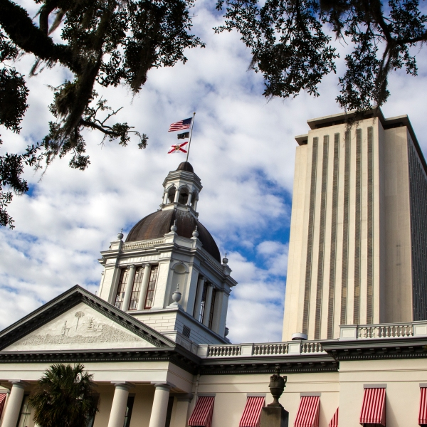 A view of the historic Old Florida State Capitol building, which sits in front of the current New Capitol, on November 10, 2018 in Tallahassee, Florida. (Mark Wallheiser/Getty Images)
