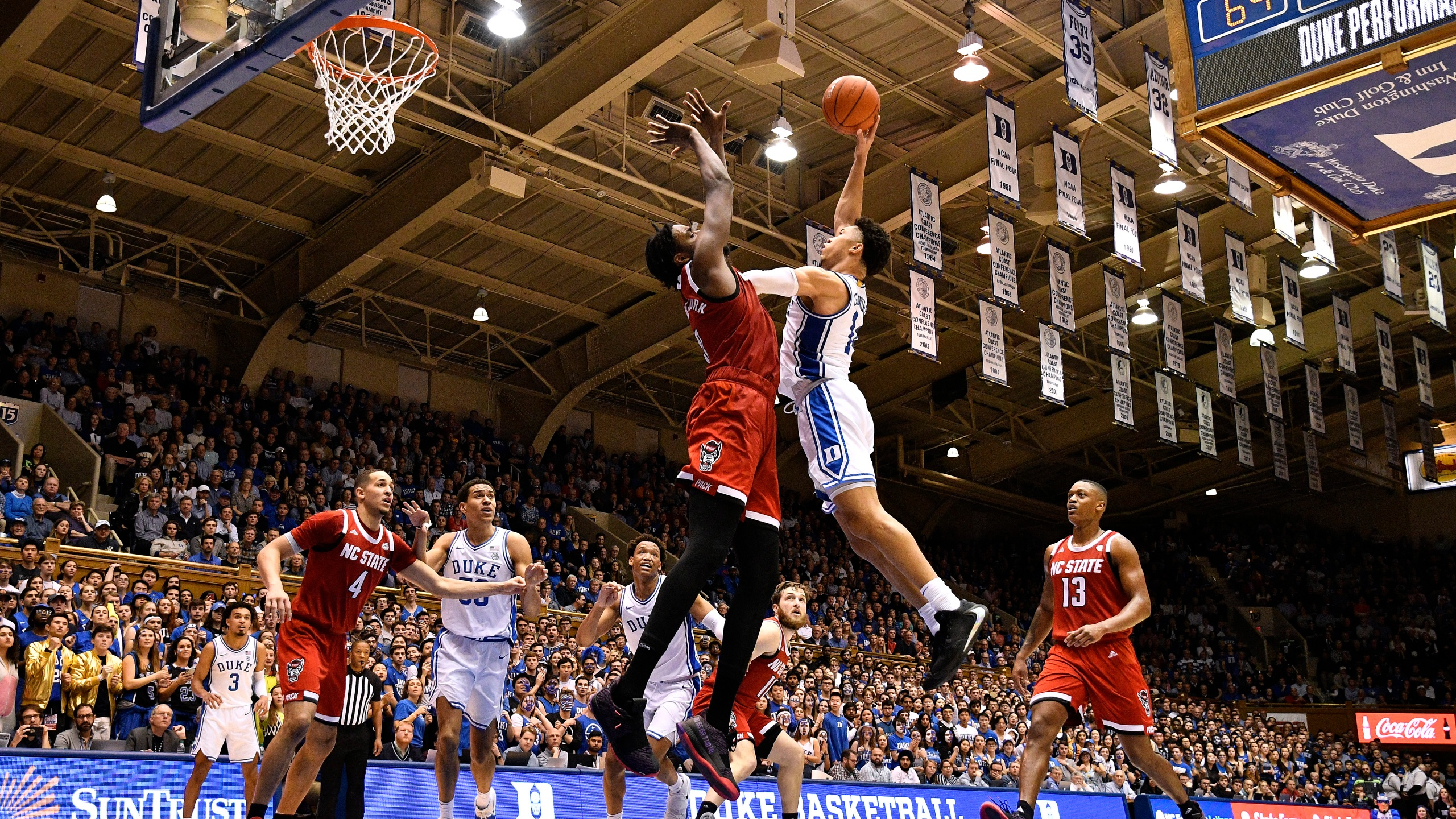 Jordan Goldwire #14 of the Duke Blue Devils drives against DJ Funderburk #0 of the North Carolina State Wolfpack during the second half of their game at Cameron Indoor Stadium on March 02, 2020 in Durham, North Carolina. Duke won 88-69. (Grant Halverson/Getty Images)