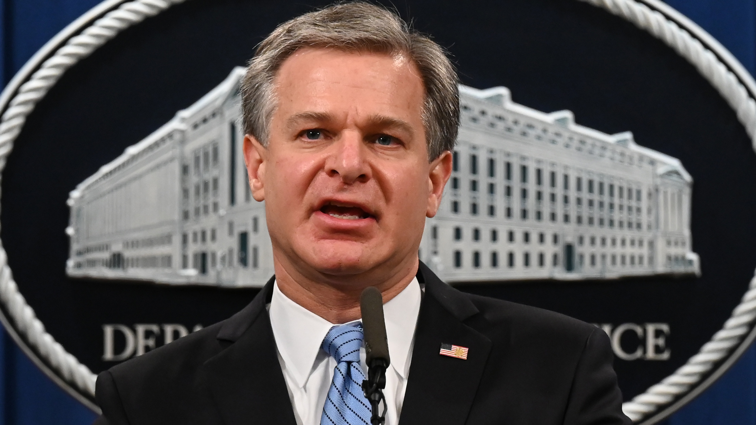 FBI Director Christopher Wray speaks during a press conference on a national security matter at the Department of Justice on Oct. 7, 2020. (JIM WATSON/POOL/AFP via Getty Images)