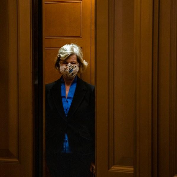 Sen. Lisa Murkowski (R-AK) leaves the Senate floor at the U.S. Capitol building on Dec. 20, 2020. (Corum/Getty Images)